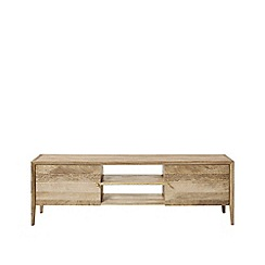 Swoon - Natural mango wood and brass 'Valente' media unit