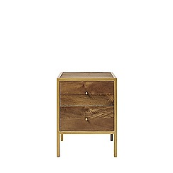 Swoon - Mango wood and brass 'Henkel' bedside table