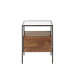 Swoon - Mango wood and glass 'Mackay' bedside table