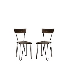 Swoon - Mango wood and black 'Kyoto' pair of chairs