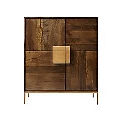 Swoon - Dark mango wood and brass 'Banner' cabinet