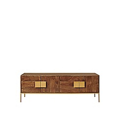 Swoon - Mango wood and antique brass 'Banner' media unit