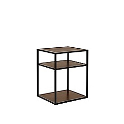 Swoon - Dark mango wood and black 'Beck' bedside table