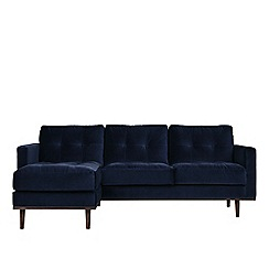 Swoon - Easy velvet 'Berlin' left-hand facing corner sofa