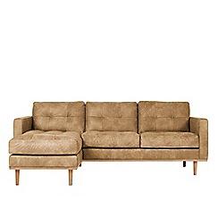 Swoon - Stone leather 'Berlin' left-hand facing corner sofa