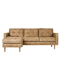 Swoon - Stone leather 'Berlin' left-hand facing corner sofa