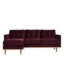 Swoon - Deep velvet 'Berlin' left-hand facing corner sofa