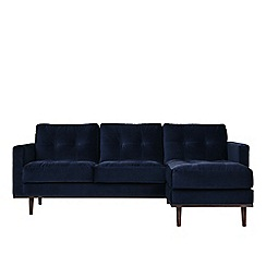 Swoon - Easy velvet 'Berlin' right-hand facing corner sofa