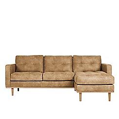 Swoon - Stone leather 'Berlin' right-hand facing corner sofa