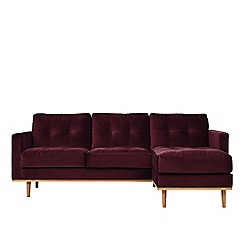 Swoon - Deep velvet 'Berlin' right-hand facing corner sofa