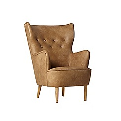 Swoon - Stone leather 'Ludwig' armchair