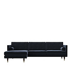 Swoon - Easy velvet 'Porto' left-hand facing corner sofa