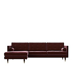 Swoon - Deep velvet 'Porto' left-hand facing corner sofa