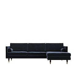 Swoon - Easy velvet 'Porto' right-hand facing corner sofa