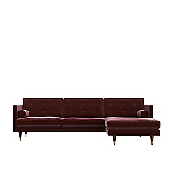 Swoon - Deep velvet 'Porto' right-hand facing corner sofa