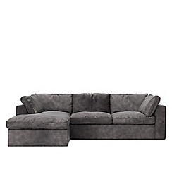 Swoon - Stone leather 'Seattle' left-hand facing corner sofa