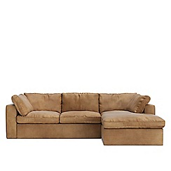 Swoon - Stone leather 'Seattle' right-hand facing corner sofa