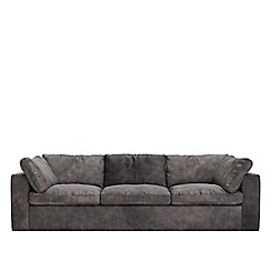 Swoon - Three-seater stone leather 'Seattle' sofa