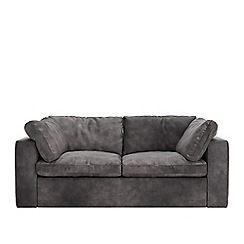 Swoon - Two-seater stone leather 'Seattle' sofa