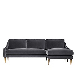 Swoon - Deep velvet 'Turin' right-hand facing corner sofa