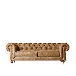 Swoon - Three-seater stone leather 'Winston' sofa