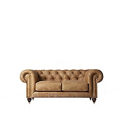 Swoon - Two-seater stone leather 'Winston' sofa