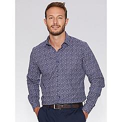 QUIZMAN - Navy floral print slim fit shirt