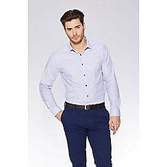 QUIZMAN - Grey and blue geometric print slim fit shirt
