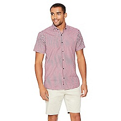 QUIZMAN - Berry gingham short sleeve slim fit shirt