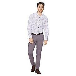 QUIZMAN - White floral print slim fit shirt