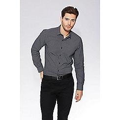 QUIZMAN - Ink blue geometric print slim fit shirt