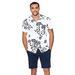 QUIZMAN - White Hawaiian print short sleeve slim fit shirt