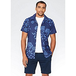 QUIZMAN - Navy Hawaiian print short sleeve slim fit shirt
