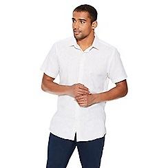 QUIZMAN - Stone linen short sleeve slim fit shirt