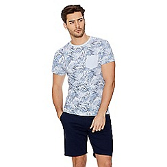 QUIZMAN - Light blue palm print slim fit t-shirt
