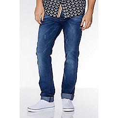 QUIZMAN - Mid blue abrasion slim fit jeans