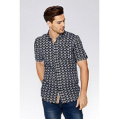 QUIZMAN - Navy geometric short sleeve slim fit shirt