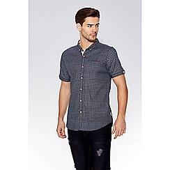 QUIZMAN - Black & white geometric short sleeve slim fit shirt