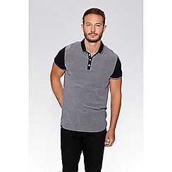 QUIZMAN - Black contrast tipping slim fit polo shirt