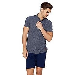QUIZMAN - Navy print collar slim fit polo shirt