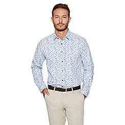 QUIZMAN - Blue floral print slim fit shirt
