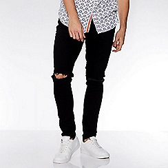 QUIZMAN - Black knee rip stretch slim fit denim jeans