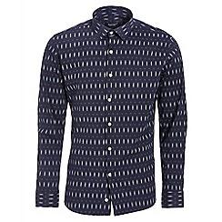 QUIZMAN - Navy and white long sleeve geometric slim fit shirt