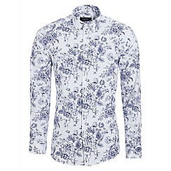 QUIZMAN - White and blue long sleeve floral slim fit shirt