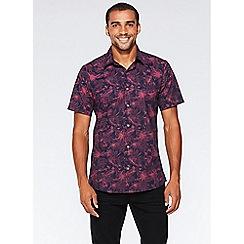 QUIZMAN - Navy and pink flower print short sleeve slim fit shirt