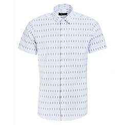 QUIZMAN - White and navy short sleeve geometric slim fit shirt