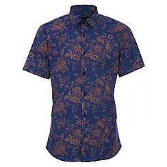 QUIZMAN - Royal blue and gold floral short sleeve slim fit shirt
