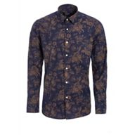 1f7572f1f29f QUIZMAN - Navy and gold long sleeve floral slim fit shirt