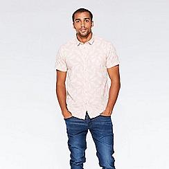 QUIZMAN - Pink feather print short sleeve slim fit shirt