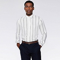 760ae78c9cd5 QUIZMAN - White and black striped viscose long sleeve slim fit shirt